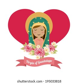 Holy Mary design over white background, vector illustration