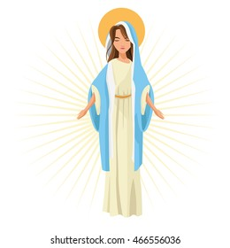Holy mary woman girl cartoon religion saint icon. Pastel colored and isolated illustration. Vector graphic