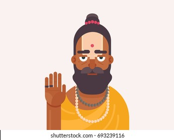Holy Men of India. Cartoon character of an Holy Sadhu man with traditional painted face. Sadhu Monk flat vector illustration
