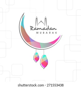 Holy month of muslim community, Ramadan Kareem celebration with creative illustration of arabic lamps hanging by moon on stylish background.