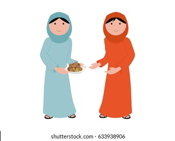 Holy month of Ramadan - giving spirit - a Muslim Arab lady wearing traditional Arabic dress holding a plate of Arabic food giving it in good spirit to her neighbor Muslim lady to share the blessing