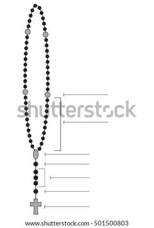 Holy Rosary Beads Chaplet Catholic Devotional Stock Vector Royalty