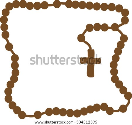 Holy Rosary Brown Frame Rosary Brown Stock Vector Royalty Free