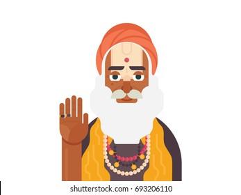 Holy Sadhu of India. Cartoon character of Indian old man. Sadhu Monk flat vector illustration