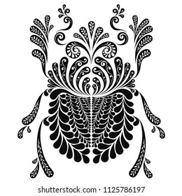Holy Scarab beetle decorative vector illustration. Black and white graphics