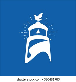 Holy spirit, dove and lighthouse