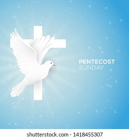 Holy Spirit Pentecost Sunday with dove and cross vector illustration