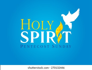 Holy Spirit Pentecost Sunday vector greetings. Fiery flaming shining glowing sign gold colored, white flying dove in sky. Christian religious invite flyer. Trinity holiday celebrating. Peace symbol.