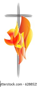 Holy Spirit, Pentecost symbol with a dove in flames of fire and a cross. Abstract vector illustration.