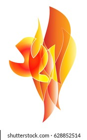 Holy Spirit, Pentecost symbol with a dove in flames of fire. Abstract vector illustration.