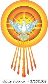 Holy Spirit symbol dove with halo and seven rays of fire, symbols of the gifts of the Holy Spirit. Abstract vector illustration