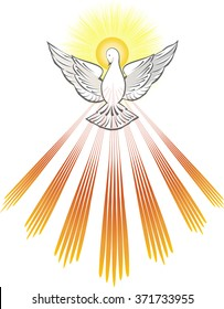Holy Spirit symbol - a white dove, with halo of light rays and seven rays of fire symbolizing sevenfold gifts of the Holy Spirit.