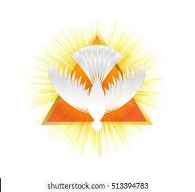 Holy Spirit symbol - a white dove, with halo of light flame fire rays and Holy Trinity symbol - a triangle