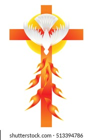 Holy Spirit symbol - a white dove, with halo of light rays and seven rays of fire symbolizing sevenfold gifts of the Holy Spirit on a cross.