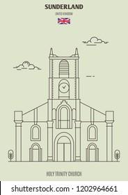Holy Trinity Church in Sunderland, UK. Landmark icon in linear style