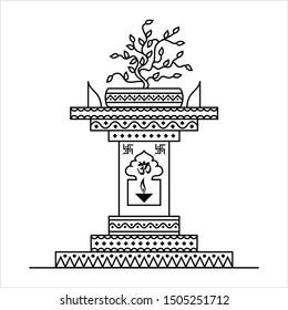 Holy Tulsi Choura, Divine Plant Worship Vector Art Illustration