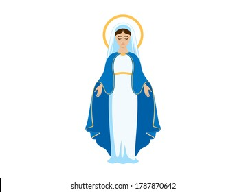Holy Virgin Mary icon vector. Assumption of Mary vector illustration. Beautiful Virgin Mary icon isolated on a white background
