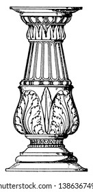 Holy Water-Stoup Candelabrum-like Shaft is an Italian Renaissance design, adding old rhinestone jewelry, home altar with shell, vintage line drawing or engraving illustration.