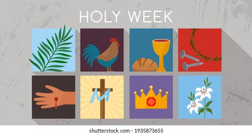Holy week banner with a rooster, communion, palm branches, a wreath of thorns, the cross of Jesus Christ and a lily. Religious postcard. vector illustration