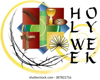 Holy Week- Palm Sunday to Easter Sunday. Color vector illustration.