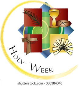 Holy Week - Palm Sunday to Easter Sunday. Color vector illustration.