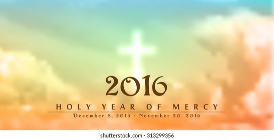 Holy Year of Mercy, December 8, 2015 - November 20, 2016, text on blurred clouds with white cross, christian motive, vector illustration, eps 10 with transparency and gradient mesh