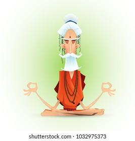 Holy yogi in deep concentration. Meditating ascetic. Cartoon vector illustration