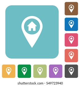 Home address GPS map location white flat icons on color rounded square backgrounds