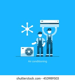Home air conditioning service, climate control concept, house cooling icons, repairman in uniform