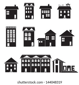 Home and apartment vector icons set