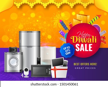 Home appliance electronic sale banner or poster design with 65% discount offer and firecrackers for Happy Diwali celebration.