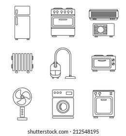 Home appliance icons set, outlined, isolated on white background, vector illustration.