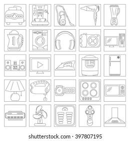 Home Appliance Line Art Icon Set