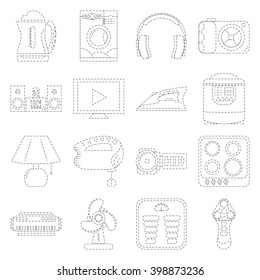 Home Appliance Line Art Icon Set Dashed