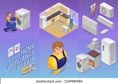 Home appliance repair. Isometric repairs concept. Home appliance, repairer and professional tools. Worker, equipment and items isometric icon. Vector flat 3d illustration.