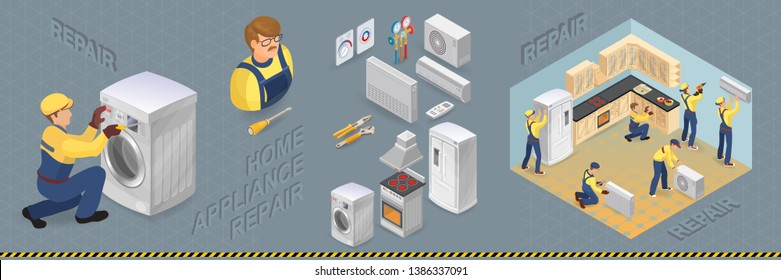 Home appliance repair. Worker repairing broken washing machine. Isometric Refrigerator, stove, heater and conditioner. Kitchen, workers with faulty home appliance. Vector.