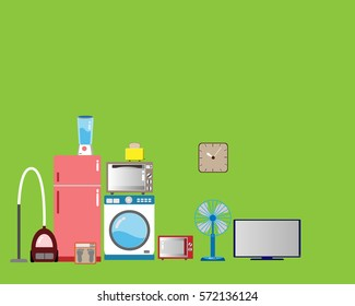 Home Appliances-Hintergrund, Vektorgrafik.