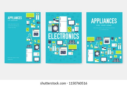 Home appliances cards set. Electronics template of flyear, magazines, posters, book cover, banners. Devices infographic concept background. Layout illustrations template pages with typography