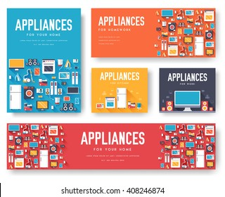Home appliances cards set. Electronics template of flyear, magazines, posters, book cover, banners. Devices infographic concept background. Layout illustrations template pages with typography text