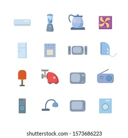 Home appliances colorful vector flat icon set for mobile concept and web apps design.