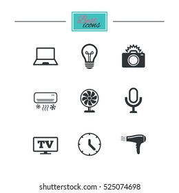 Home appliances, device icons. Air conditioning sign. Photo camera, computer and ventilator symbols. Black flat icons. Classic design. Vector