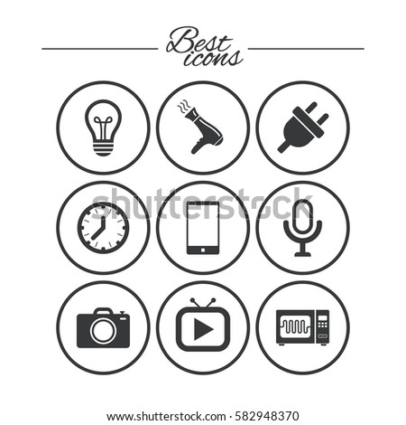 Home Appliances Device Icons Electronics Signs Stock Vector Royalty