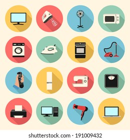 home appliances and electronics colorful flat style icons set. template elements for web and mobile applications