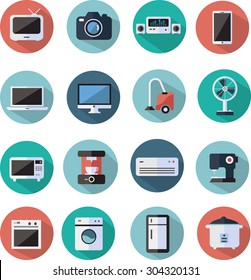 home appliances and electronics flat icons set