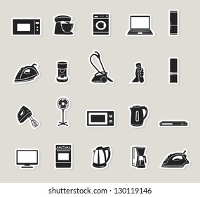home appliances and electronics icons set. paper stickers