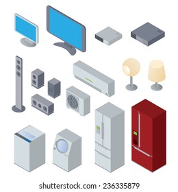 Home Appliances and Electronics illustration set vector