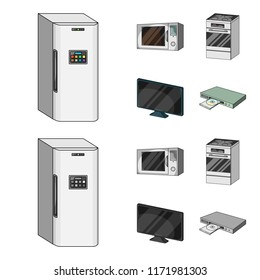 Home appliances and equipment cartoon,monochrome icons in set collection for design.Modern household appliances vector symbol stock web illustration.