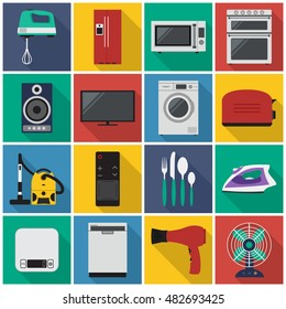 home appliances flat icon. You can be used home appliances icon for several purposes like: websites, UI, UX, print templates, promotional materials, info-graphics, web and mobile phone apps.