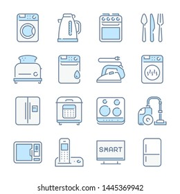 Home appliances, Household and Kitchen appliances related blue line colored icons.