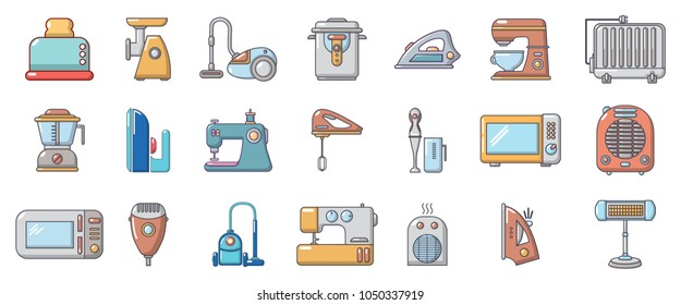 Home appliances icon set. Cartoon set of home appliances vector icons for web design isolated on white background